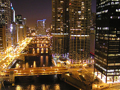Chicago River at night by bjmccray