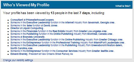 LinkedIn Who's Been Looking