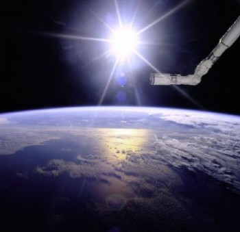 NIX photo, robot arm over Earth