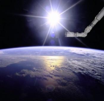 NIX photo, robot arm over Earth