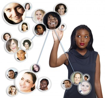 BigSTock: Woman touching faces of the people in her business network