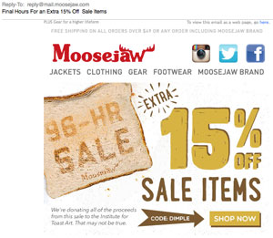Moosejaw email newsletter