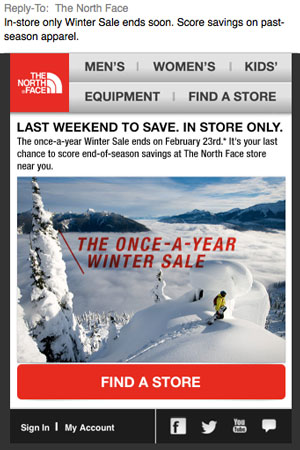 NorthFace email newsletter