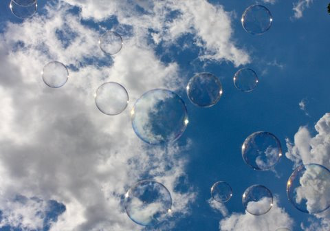 sky with clouds and bubbles