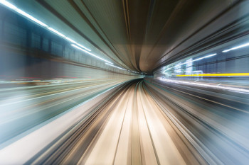 speeding through a tunnel
