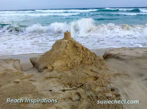Sandcastle on beach