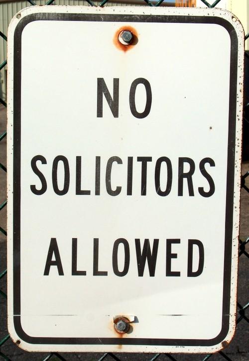 No solicitors allowed