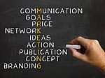 marketing-words-blackboard-shows-selling-promotion-and-sales-100211117