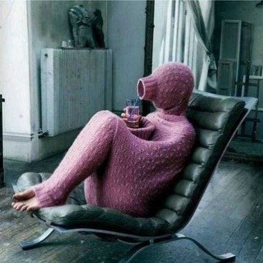 person covered in sweater