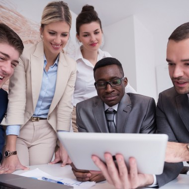 young business people group have meeting and working in modern b