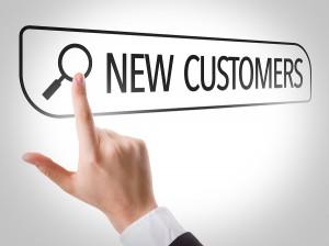 New Customers written in search bar on virtual screen