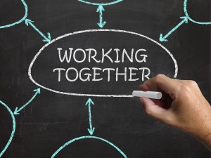 Working Together Blackboard Means Teams And Cooperating