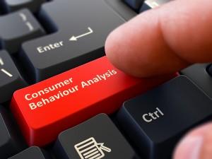 Finger Presses Red Keyboard Button Consumer Behaviour Analysis.