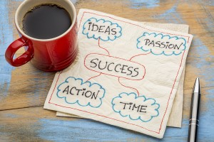 success ingredients - ideas, passion, time and action - a napkin