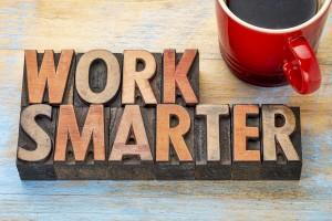 work smarter advice - words in vintage letterpress wood type blo