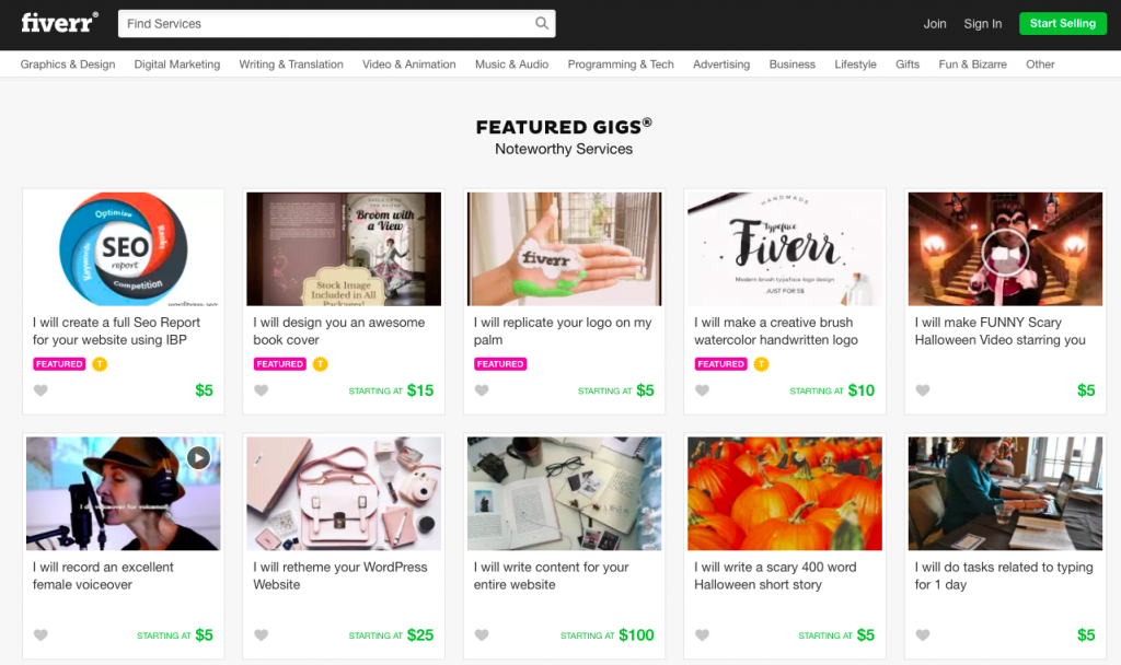 Fiverr main page