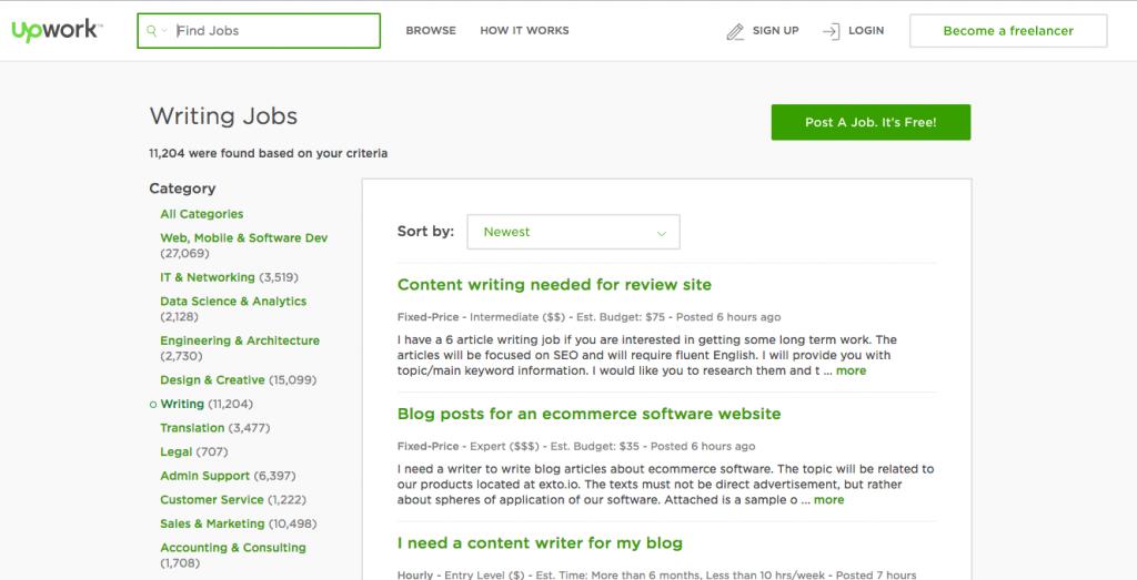 Upwork main web page