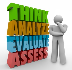 Think Analyze Evaluate Assess 3d Words beside a thinking person